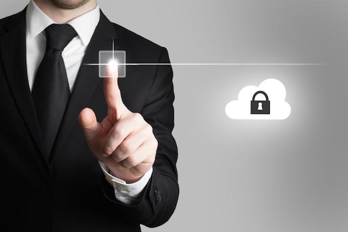 businessman pressing touchscreen button cloud security